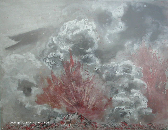 Painting of a volcano